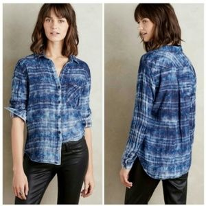 Anthropologie Cloth & Stone Rockland Blue Flannel